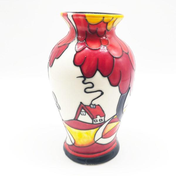 red centrepiece vase