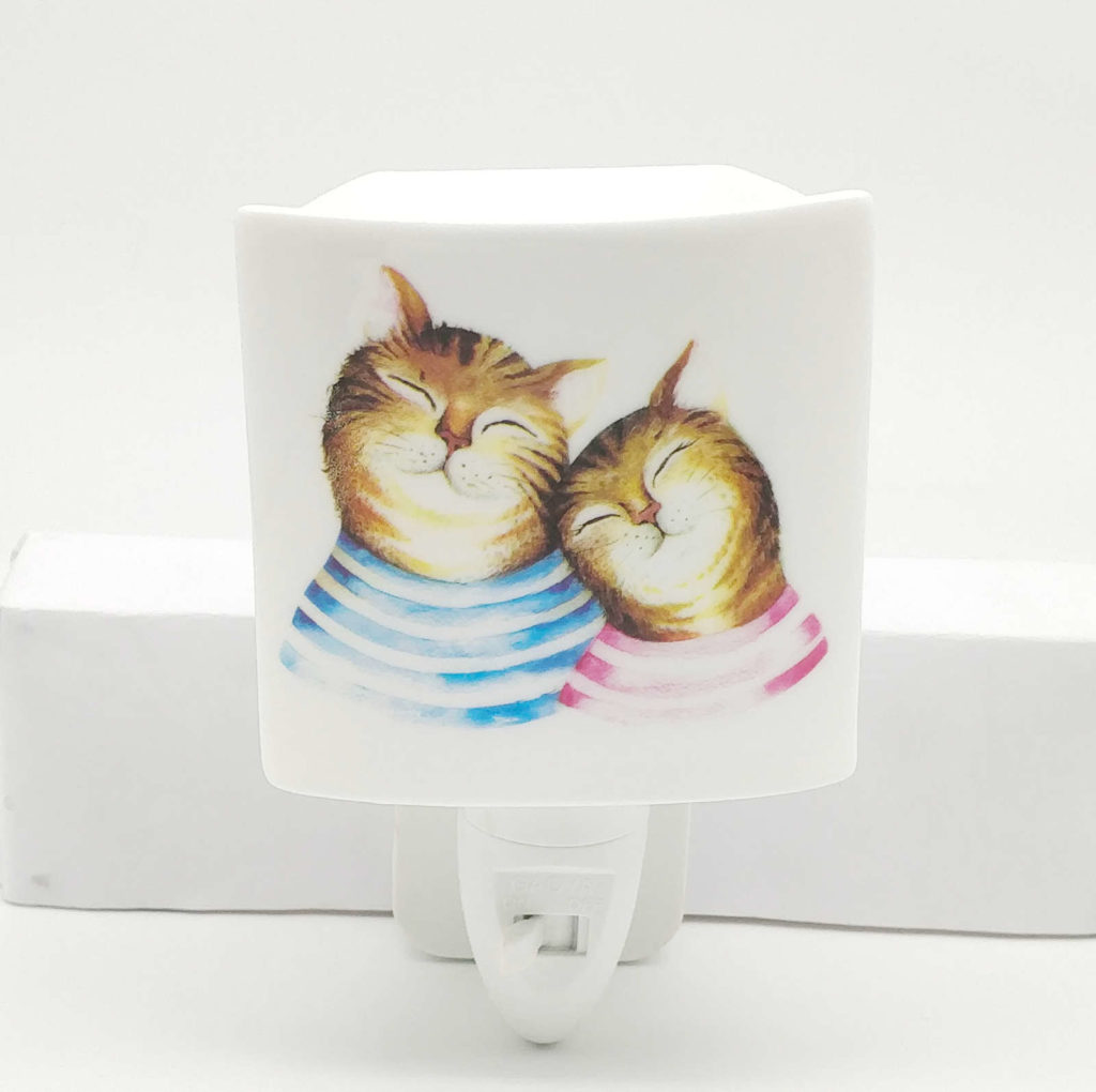 ceramic night light with cats
