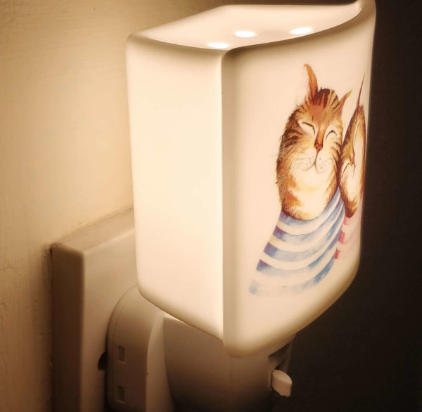 cat ceramic night light