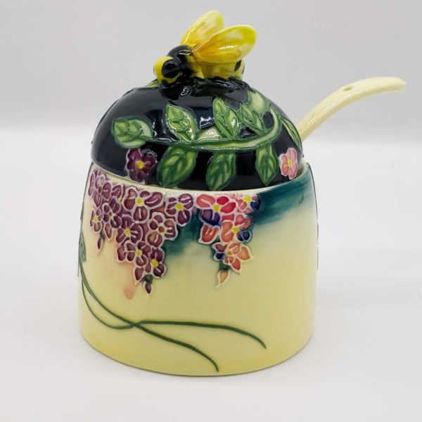 bee honey pot made from ceramics