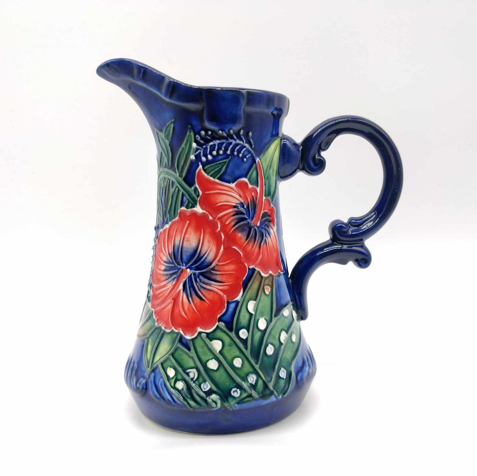 Blue Ceramic Milk Jug with Hibiscus flower