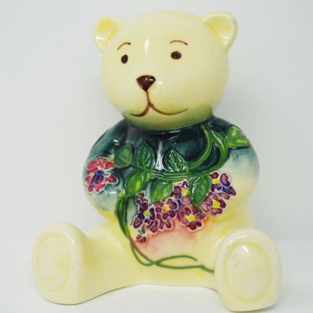 Small Ornament of a Teddy Bear - Cream colour with Purple flowers decor